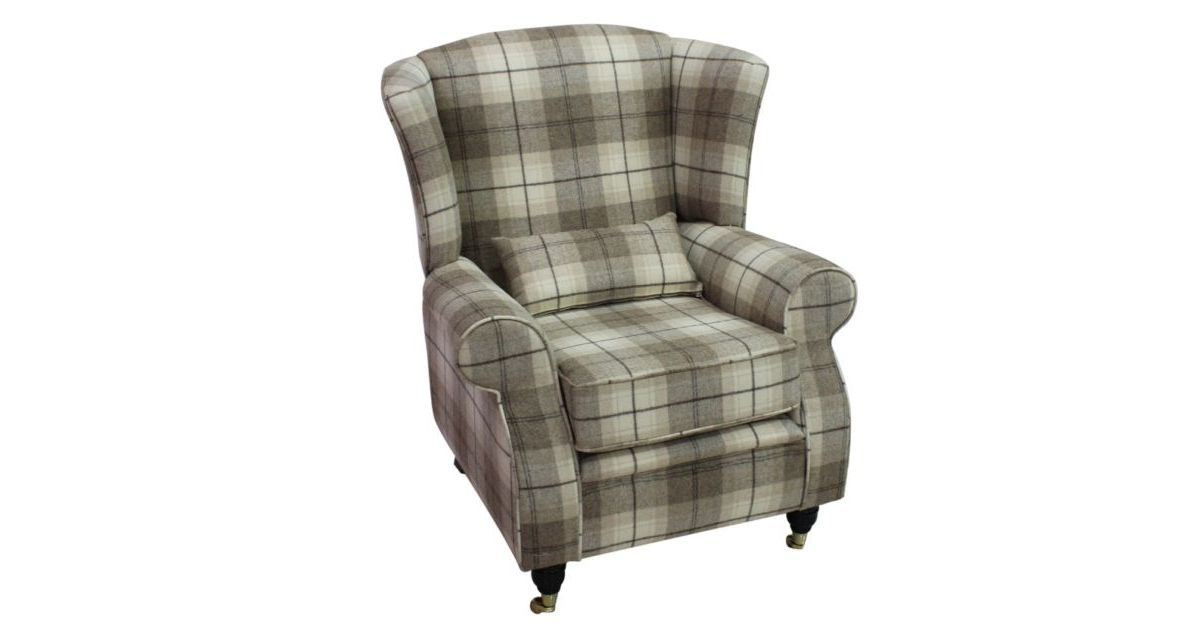 Arnold Wool Tweed Wing Chair Fireside High Back Armchair