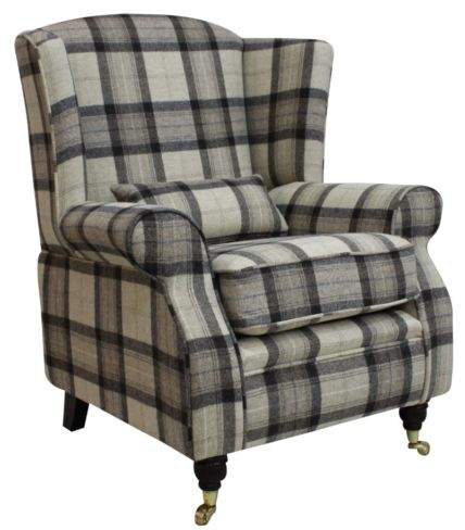 Arnold Wool Tweed Wing Chair Fireside High Back Armchair Skye Natural Check Fabric