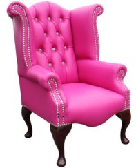 Chesterfield Baby Princess Crystal Queen Anne High Back Wing Chair Vele Fuchsia Pink