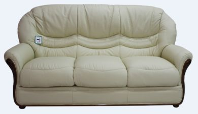 Best Genuine Italian Leather 3 Seater Sofa Settee Cream