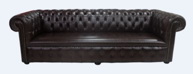 Chesterfield 1780's 4 Seater Settee Old English Dark Brown Leather Sofa Offer