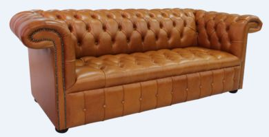 Chesterfield 1857 3 Seater Leather Sofa Old English Bruciato