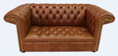 Chesterfield 1857 2 Seater Leather Sofa Old English Bruciato