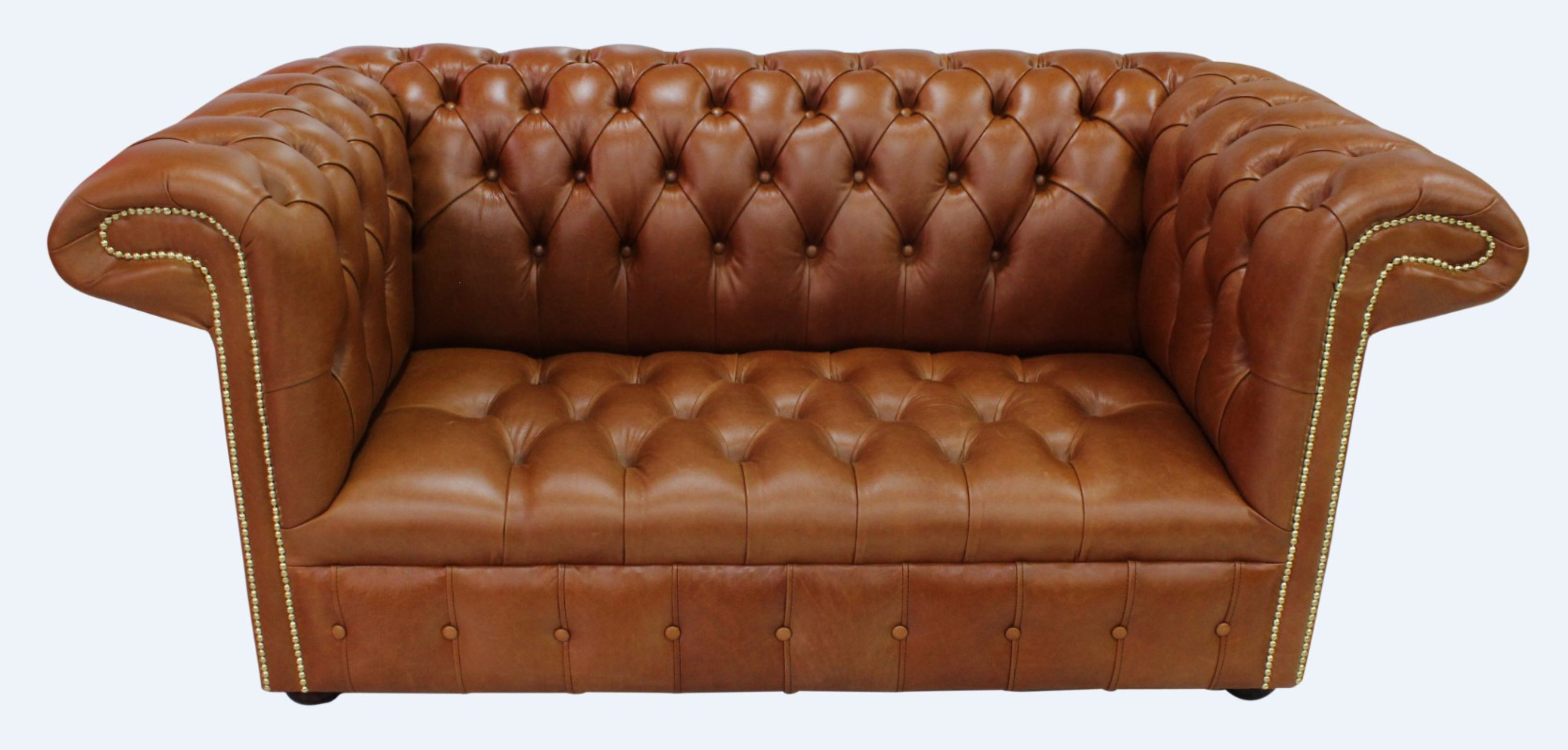 Chesterfield 1857 2 Seater Buttoned Seat Leather Sofa Old English Bruciato