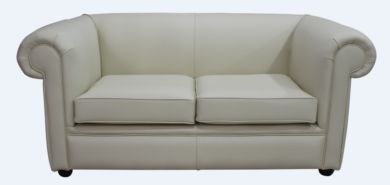 Chesterfield 1930's 2 Seater Settee Cream Leather Sofa