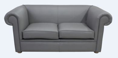 Chesterfield 1930's 2 Seater Settee Moonmist Grey Leather Sofa