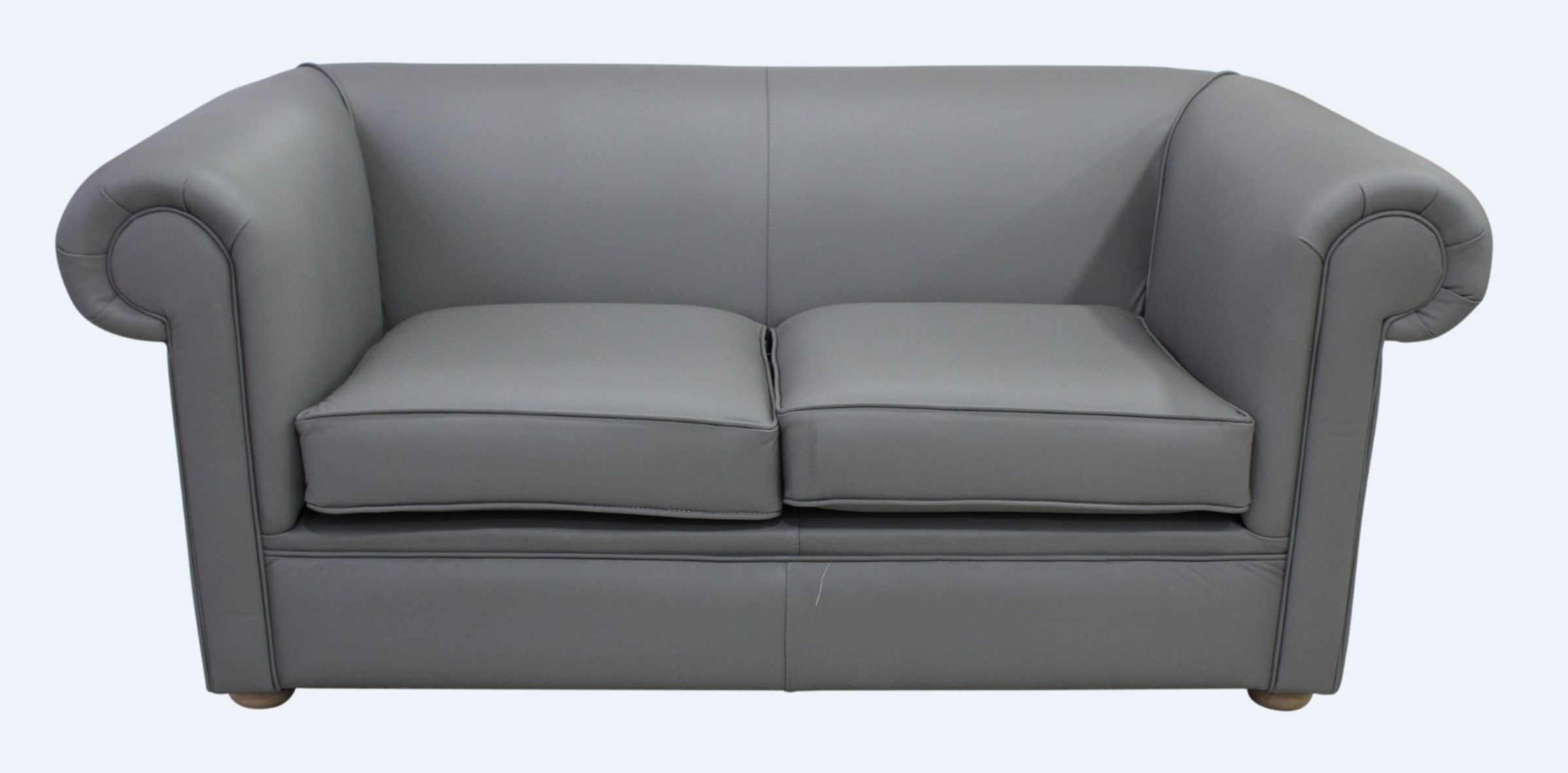 Chesterfield 1930 S 2 Seater Settee Moonmist Grey Leather Sofa