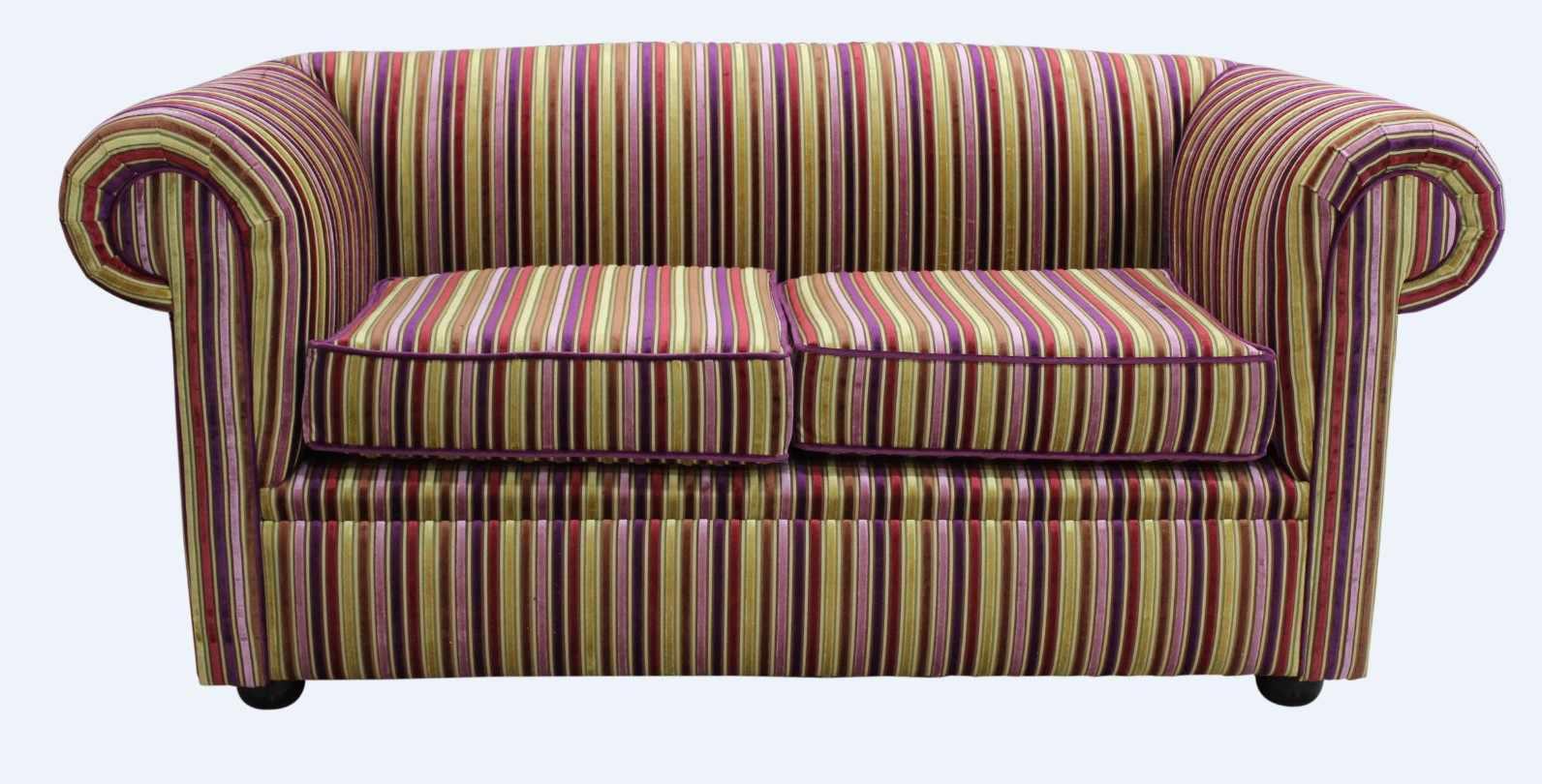 5495d5988197 Chesterfield 1930 s 2 Seater Sofa Settee Riga Multi Stripe Velvet Fabric
