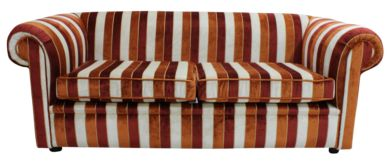 Chesterfield 1930's 3 Seater Sofa Settee Oscar Mango Stripe