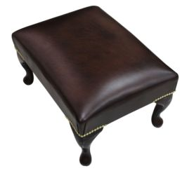 Chesterfield 1930 Queen Anne Footstool UK Maufactured Antique Brown Leather, Leather Sofas, Traditional Sofas