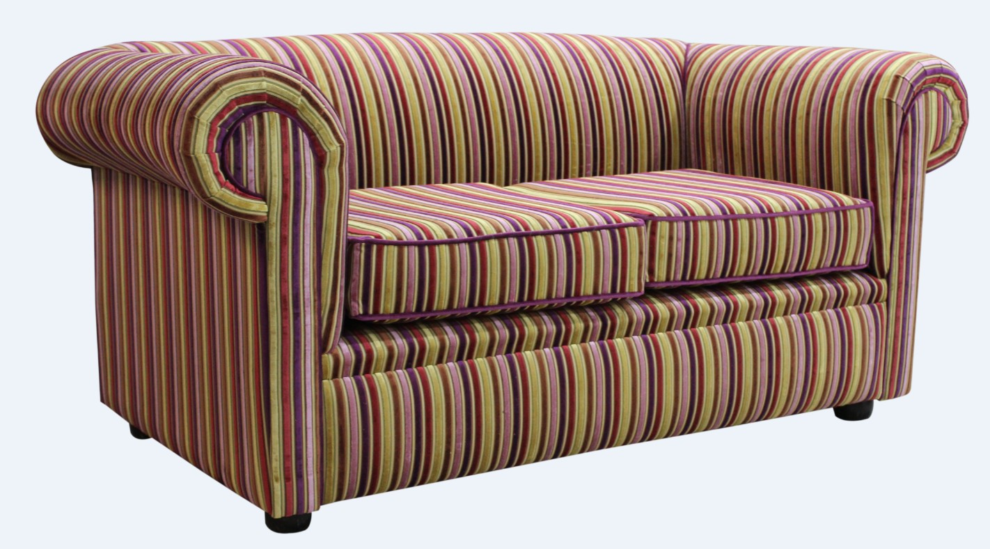 a26663b56897 Chesterfield 1930 s 2 Seater Sofa Settee Riga Multi Stripe Velvet Fabric · Chesterfield  1930 s Sofa Settee Riga Multi Stripe ...