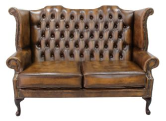Chesterfield 2.5 Seater Queen Anne High Back Wing Sofa Chair Antique Tan Leather UK Manufactured