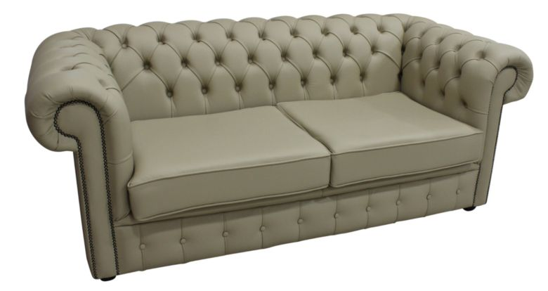 Chesterfield 2.5 Seater Shelly Stone Leather Sofa Offer