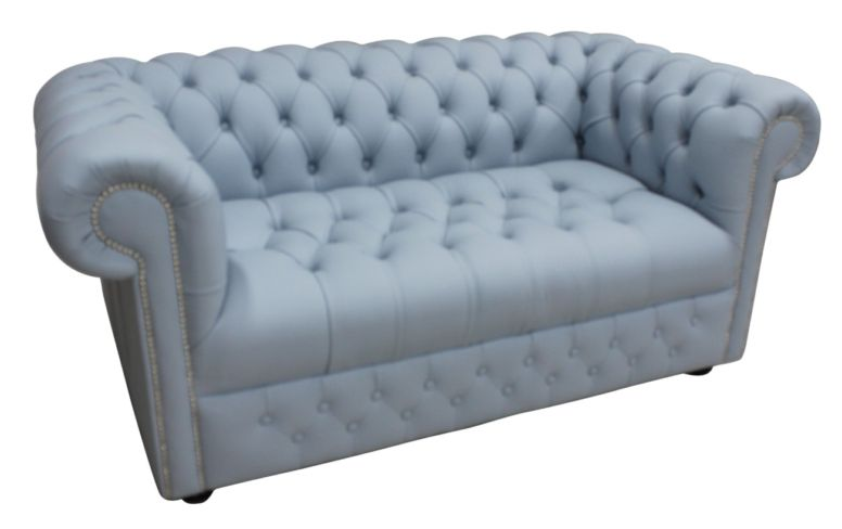 Chesterfield 2 Seater Sofa Settee Buttoned Seat Parlour Blue Leather