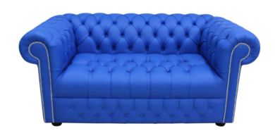 Chesterfield 2 Seater Sofa Settee Buttoned Seat Deep Ultramarine Blue Leather