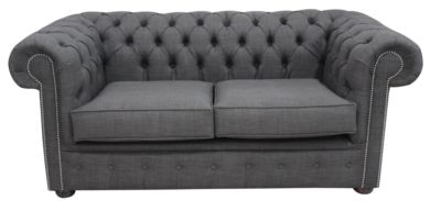 Chesterfield 2 Seater Settee Charles Linen Charcoal Grey Sofa Offer