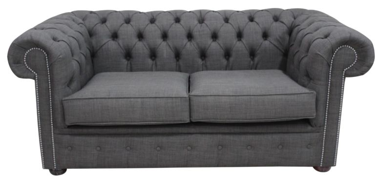 DesignerSofas4U | Buy grey linen Chesterfield settee
