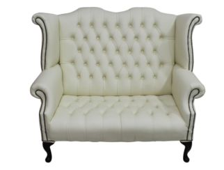 Chesterfield Newby 2 Seater Queen Anne High Back Wing Chair Sofa Cream Leather