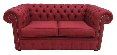 Chesterfield 2 Seater Settee Charles Linen Wine Sofa Offer