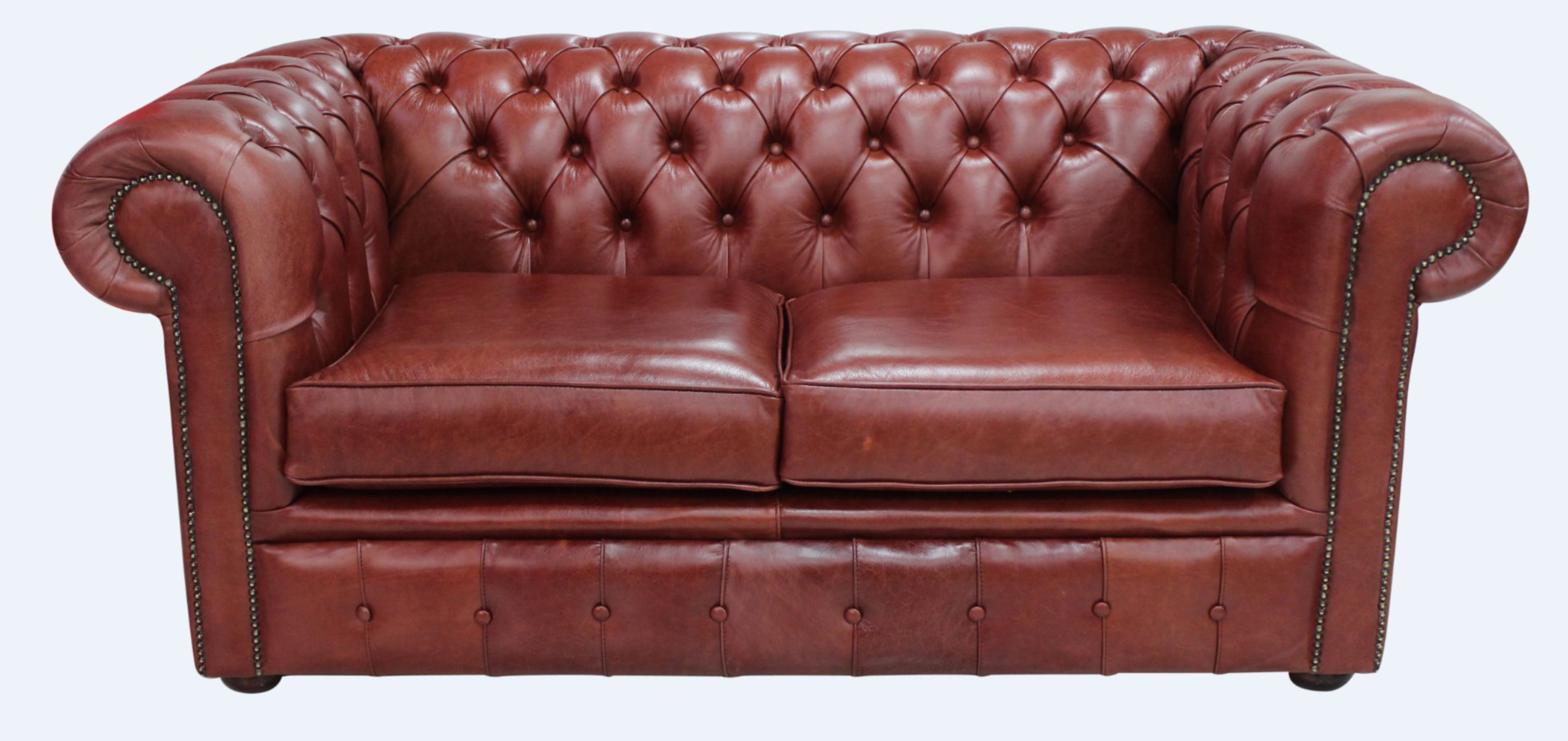 - Chesterfield Original 2 Seater Old English Chestnut Leather Sofa