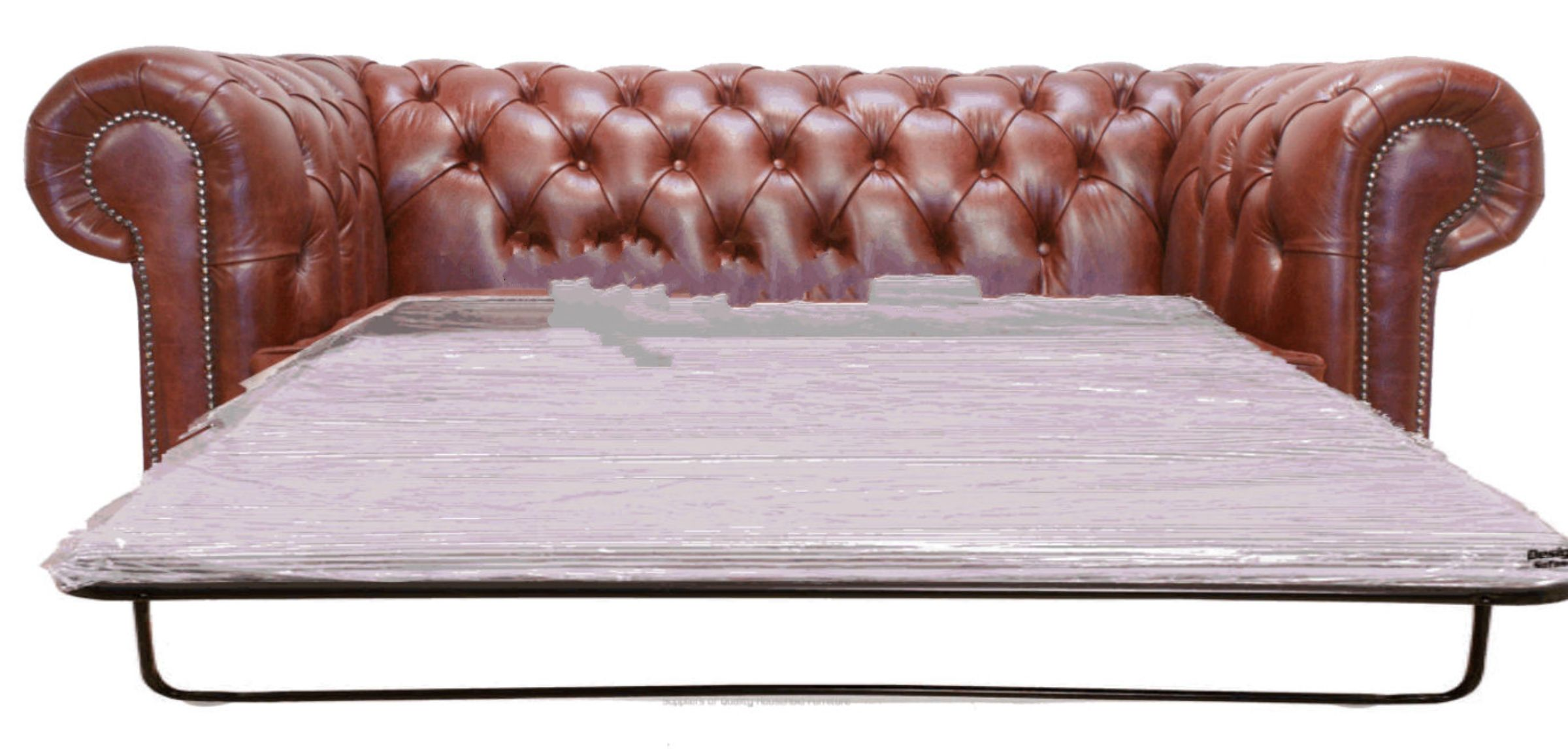 Chestnut Leather Chesterfield Sofa Bed Designersofas4u