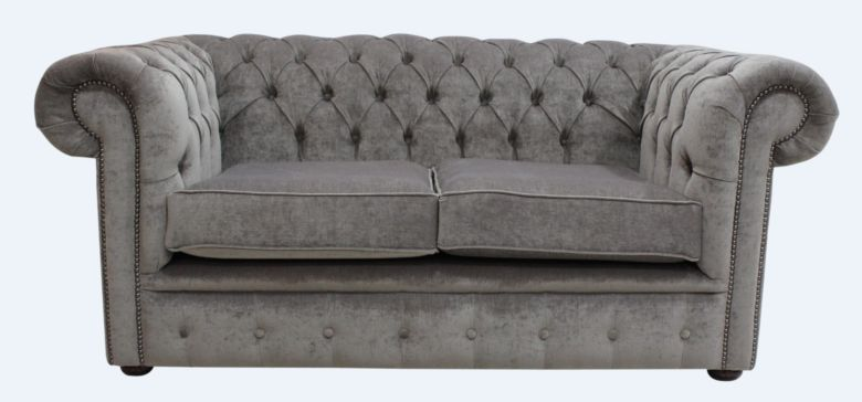 Chesterfield 2 Seater Settee Pimlico Bark Fabric Sofa Offer