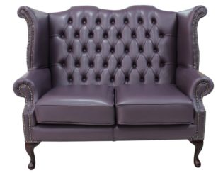Chesterfield 2 Seater Queen Anne Buttoned Seat High Back Wing Sofa Hemmingway Blueberry Leather