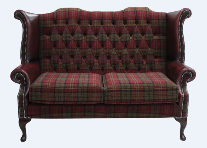 Chesterfield 2 Seater Queen Anne High Back Wing Sofa Chair Lana Terracotta Antique Oxblood Leather