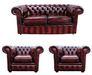 Chesterfield 2 Seater Sofa + 2 x Club Chairs Leather Sofa Suite Offer Antique Oxblood