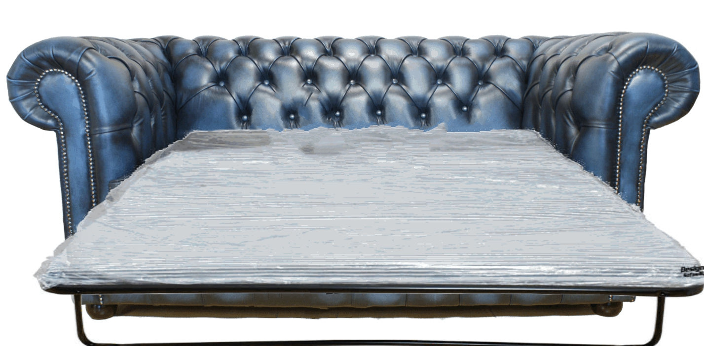 Chesterfield 2 Seater Sofabed Settee Antique Blue