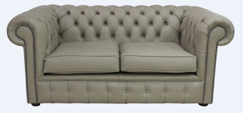 Chesterfield 2 Seater Sofa Settee Shelly Ash Leather