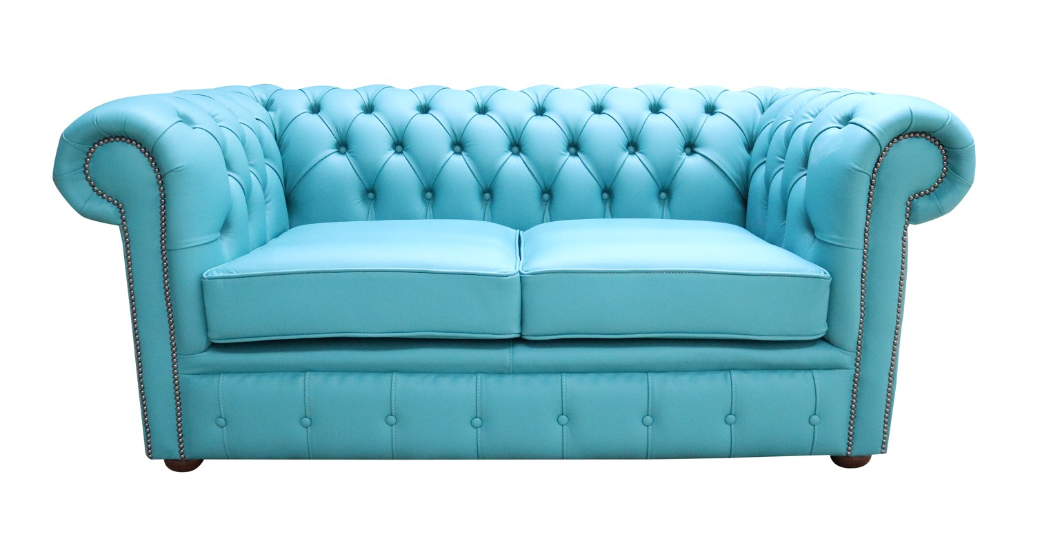 Chesterfield 2 Seater Shelly Dark Teal Blue Leather Sofa Offer