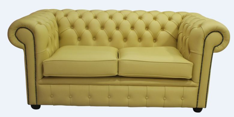 Chesterfield 2 Seater Sofa Settee Shelly Deluca Yellow Leather