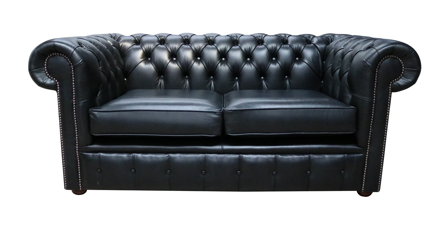 Chesterfield 2 Seater Settee Old English Black Leather Sofa