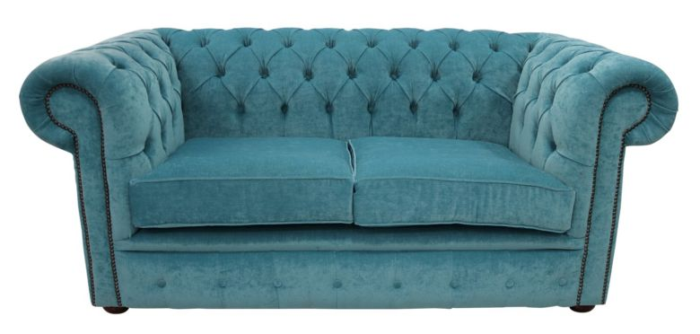 Chesterfield 2 Seater Settee Pimlico Teal Fabric Sofa Offer