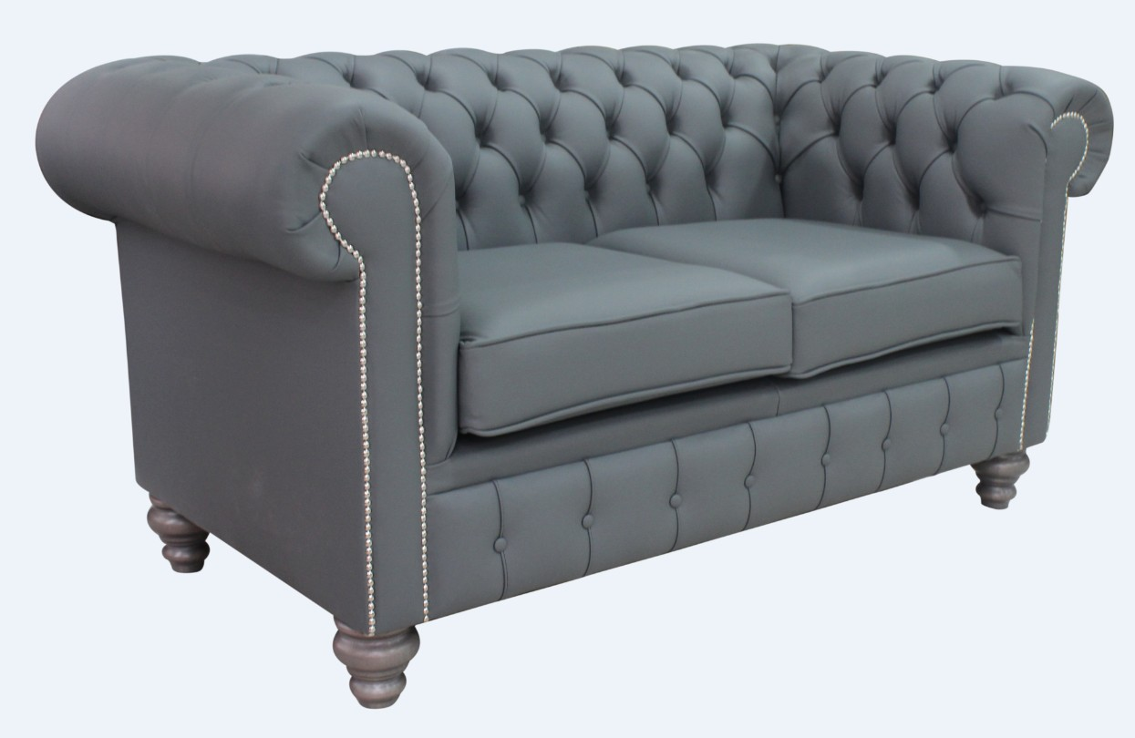 Super Chesterfield 2 Seater Shelly Piping Grey Leather Sofa Offer Grey Feet Ocoug Best Dining Table And Chair Ideas Images Ocougorg