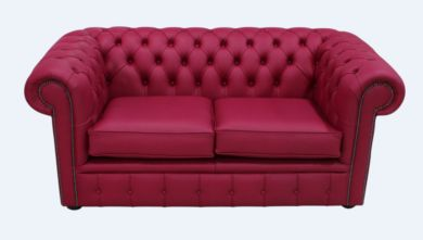 Chesterfield 2 Seater Shelly Anemone Leather Sofa Offer