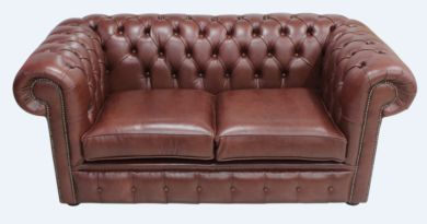 Chesterfield 2 Seater Settee Old Byron Conker Leather Sofa