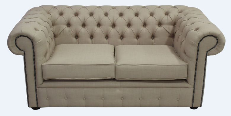 Chesterfield 2 Seater Settee Charles Linen Honey Sofa Offer