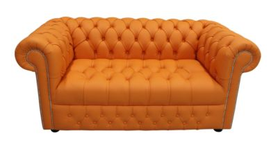Chesterfield 2 Seater Sofa Settee Buttoned Seat Shelly Flamenco Orange Leather