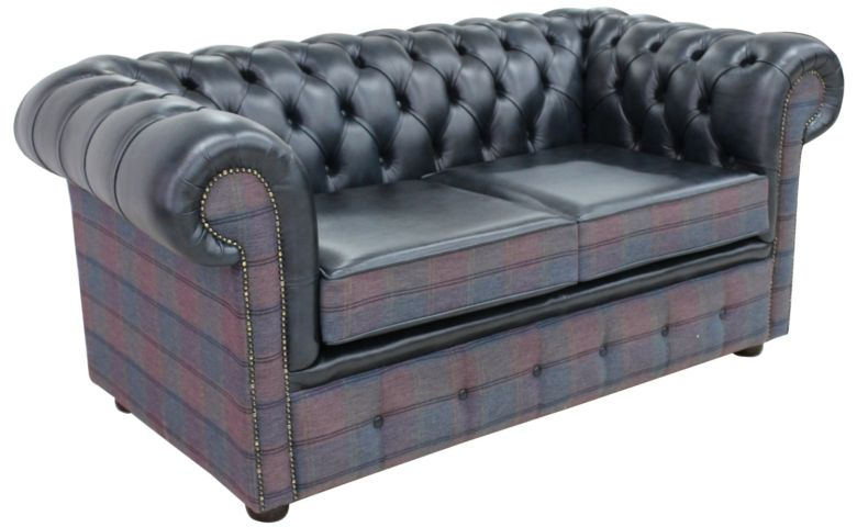 Chesterfield 2 Seater Lewis Check Plum & Antique Blue Leather Sofa Offer
