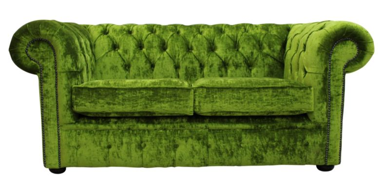 Chesterfield 2 Seater Settee Modena Pistachio Green Velvet Sofa Offer