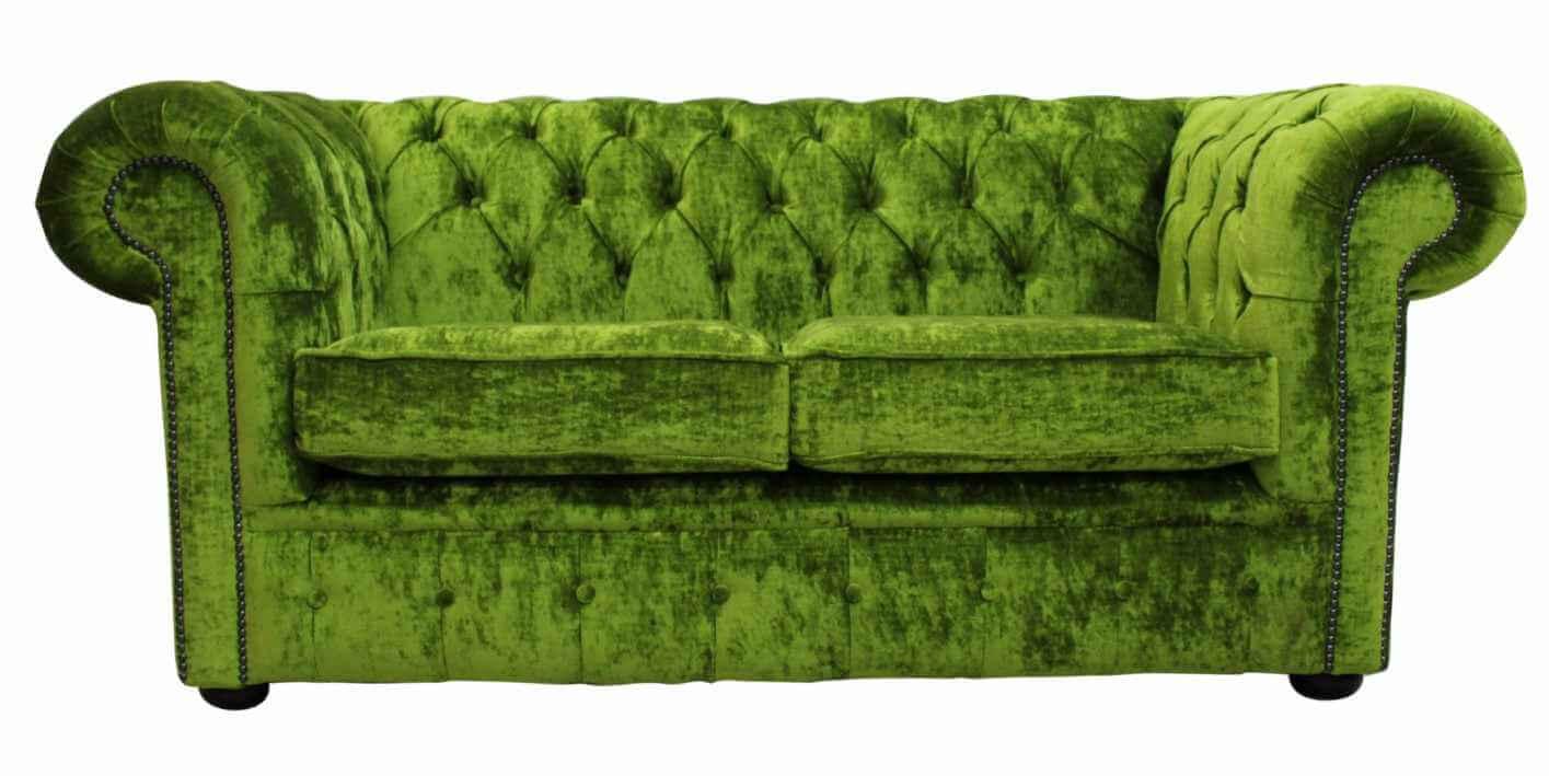 Chesterfield 2 Seater Settee Modena Pistachio Green Velvet Sofa Offer