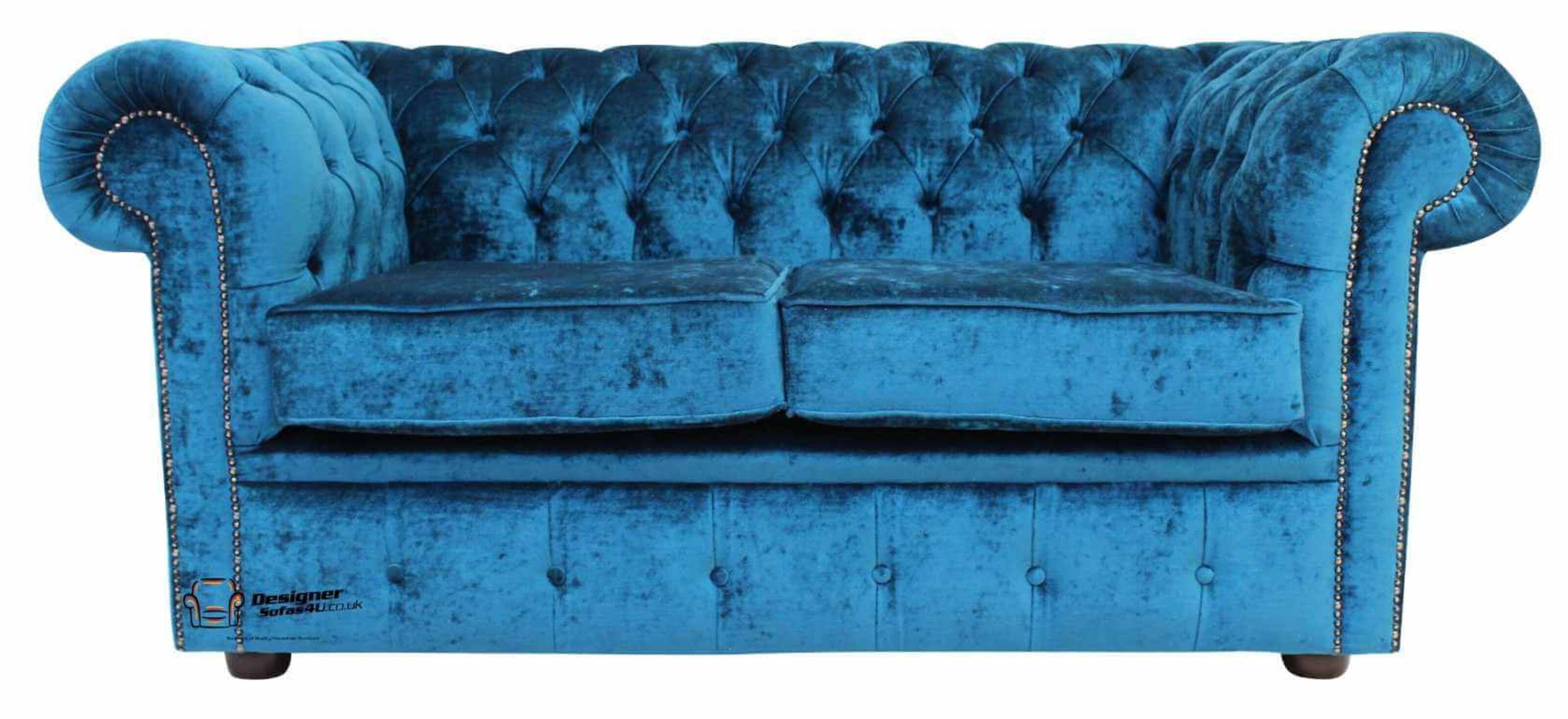 6811b01a3465 ... Offer · Chesterfield 2 Seater Sofa Settee Pastiche Petrol Blue Velvet  ...