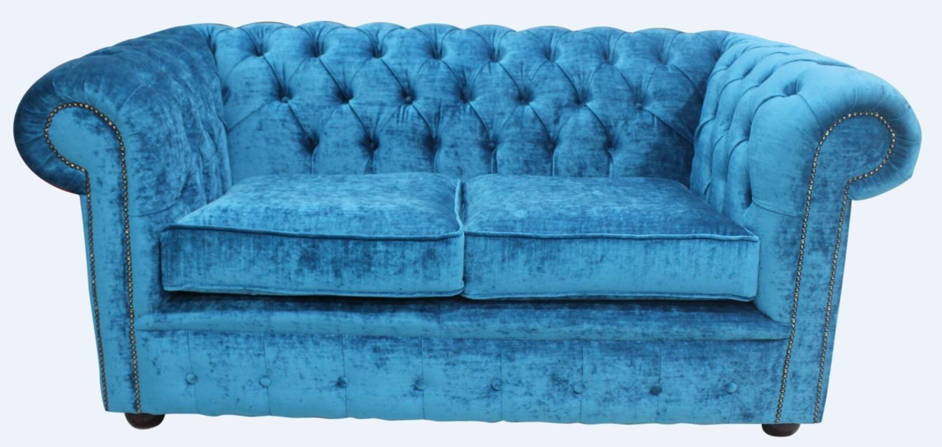 2b3b17996d06 Chesterfield 2 Seater Settee Pastiche Teal Velvet Sofa Offer
