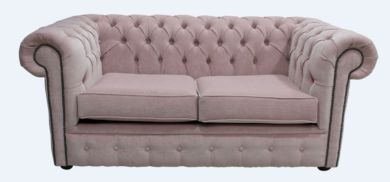 Chesterfield 2 Seater Settee Pimlico Blush Pink Fabric Sofa Offer