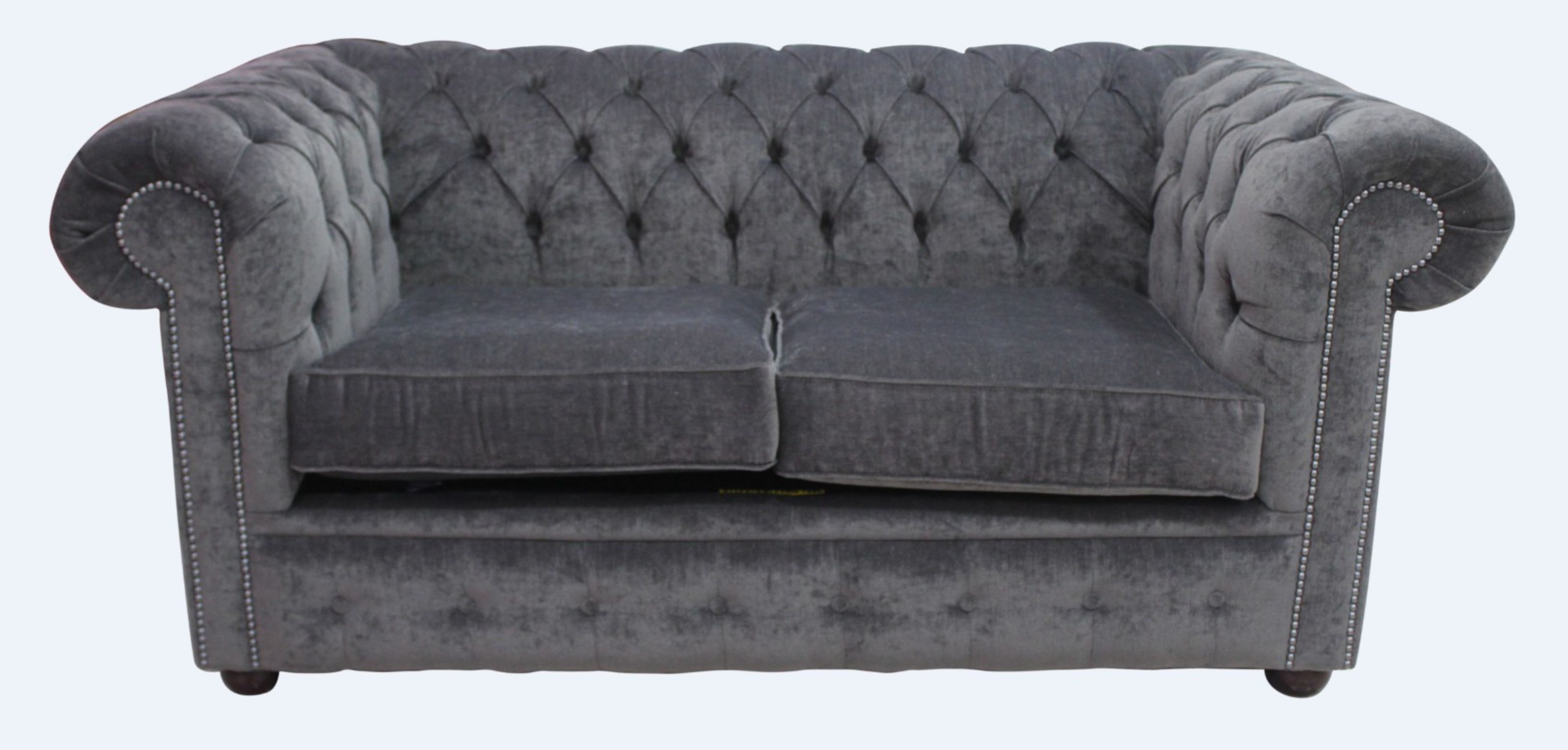 Chesterfield 2 Seater Settee Pimlico Charcoal Grey Fabric Sofa Offer