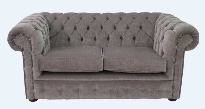 Chesterfield 2 Seater Settee Pimlico Grey Fabric Sofa Offer