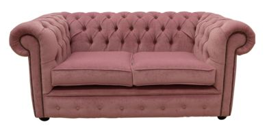 Chesterfield 2 Seater Settee Pimlico Lilac Fabric Sofa Offer