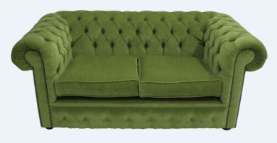 Chesterfield 2 Seater Settee Sage Green Fabric Sofa Offer